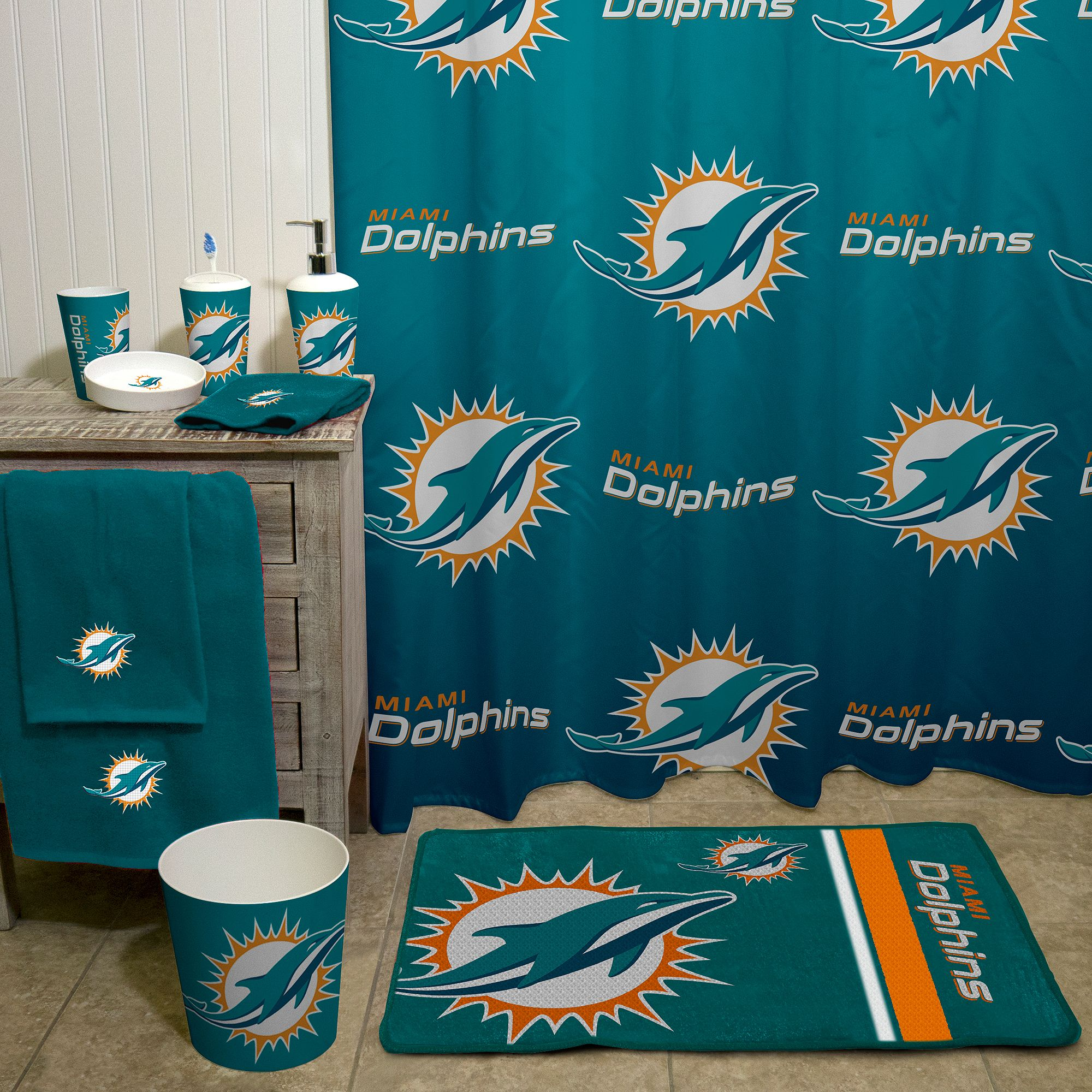 Nfl Miami Dolphins Decorative Bath Collection Shower Curtain Walmart Com