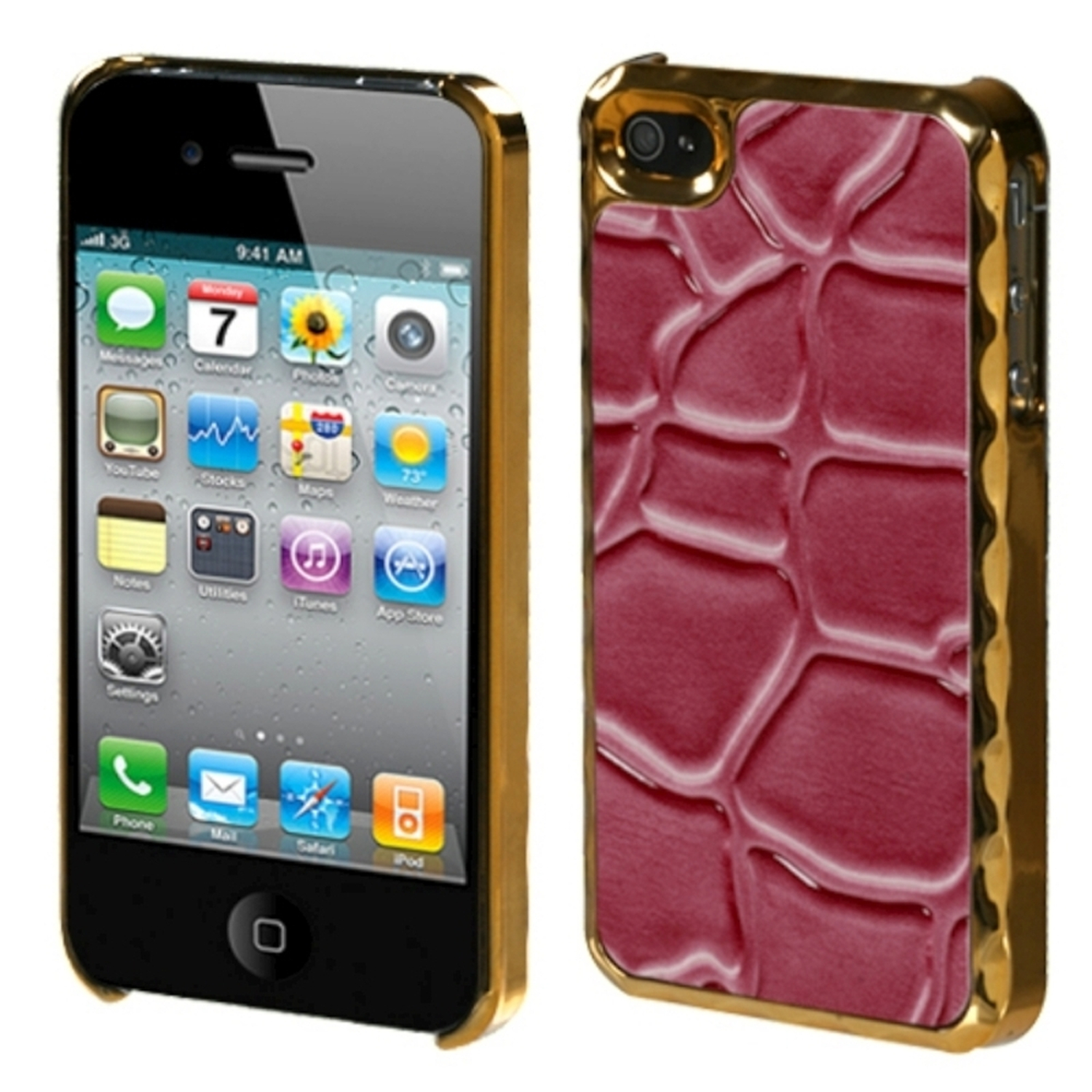 Insten Hot Pink Rose Gold Plating Stone Texture Alloy Back Case For iPhone 4 4S