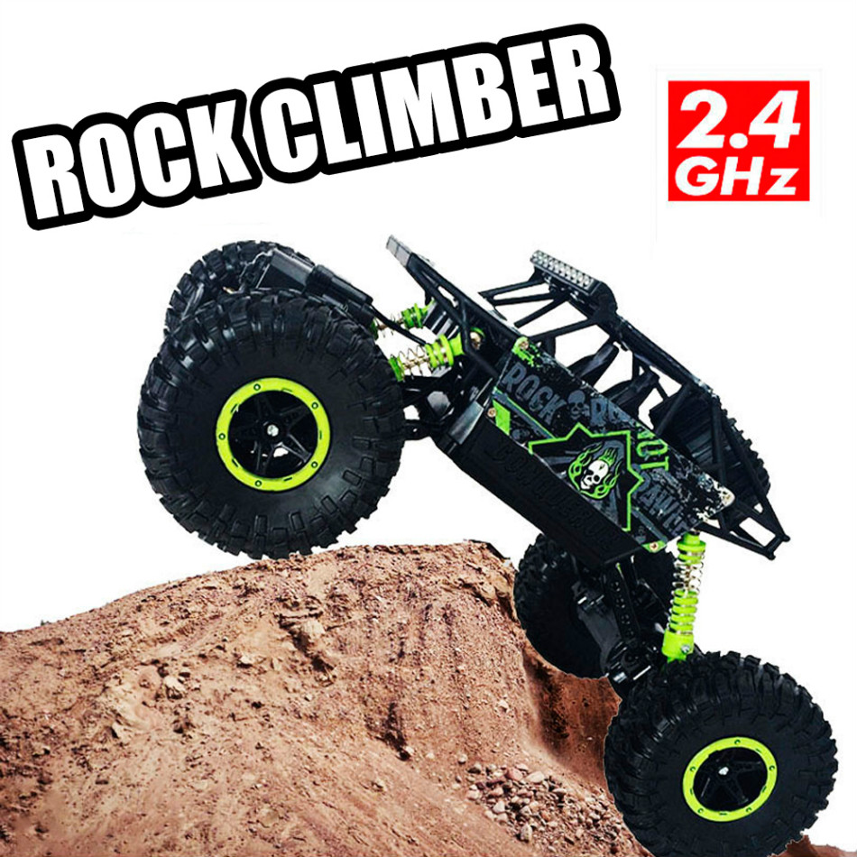 4WD Rock Crawlers Driving Car Drive Bigfoot Remote Control Off-Road Vehicle green