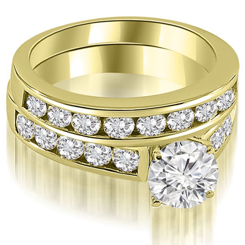 2.85 CT.TW Cathedral Channel Set Round Cut Diamond Bridal Set in 14K White, Yellow Or Rose Gold