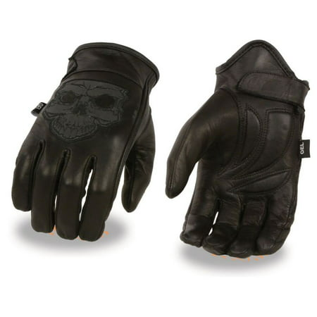 Milwaukee Mens Premium Leather Short Wrist Gel Palm Driving Gloves w/Reflective Skull Embroidery Black