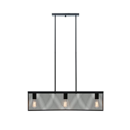 Globe Electric Rebecca 3-Light Black Pendant with Linear Metal Mesh Shade, 65019
