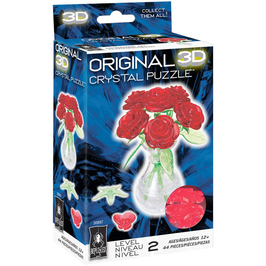 BePuzzled 3D Crystal Puzzle - Roses in a Vase: 44 Pcs