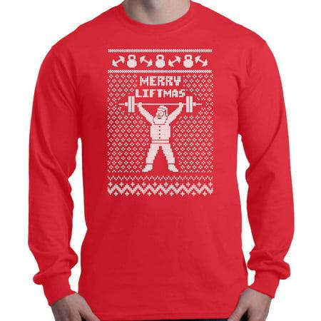 Birthday Funny Long Sleeve (Shop4Ever Men's Merry Liftmas Santa Funny Gym Christmas Long Sleeve Shirt)