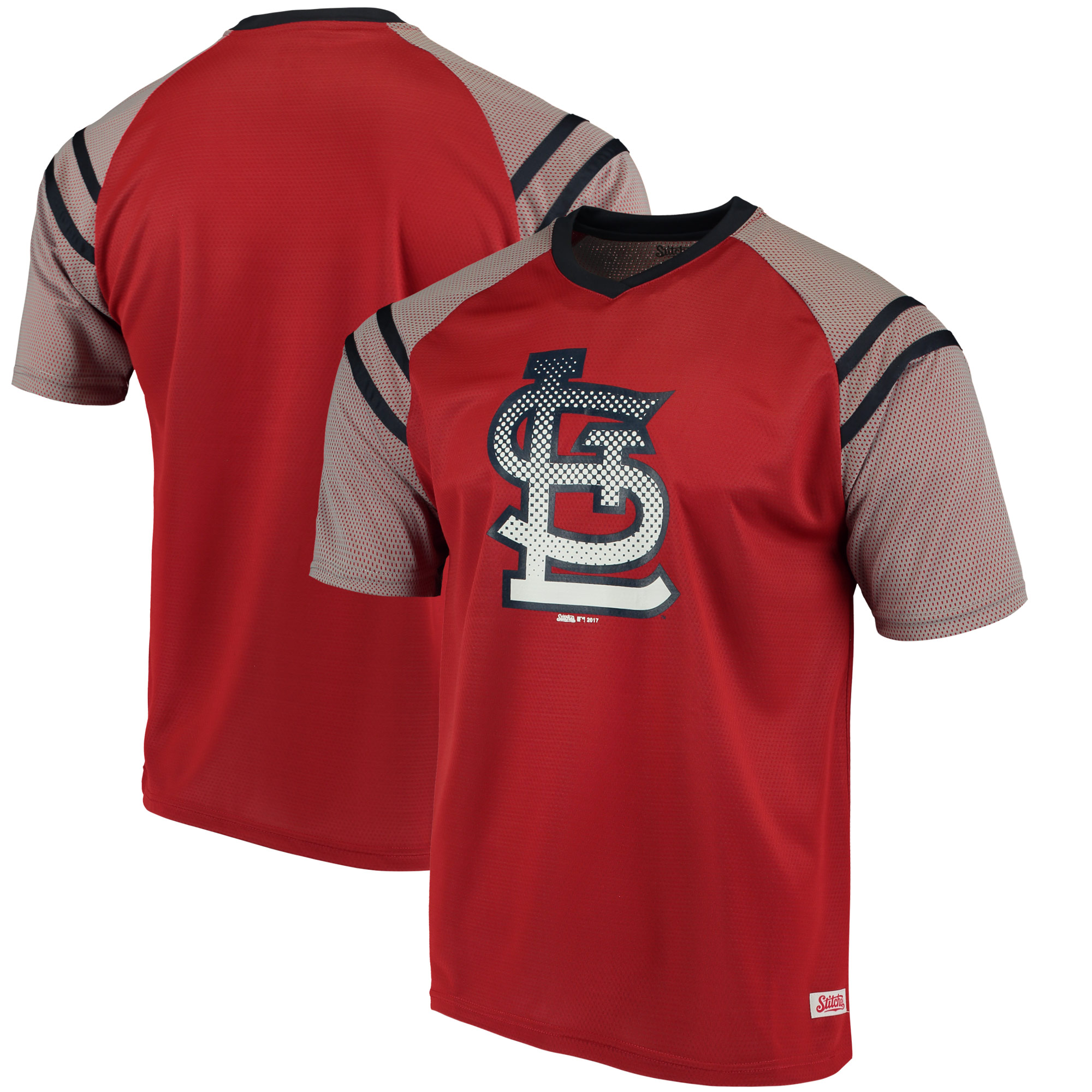 St. Louis Cardinals Stitches V-Neck Mesh Jersey T-Shirt - Red/Navy