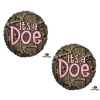 LoonBalloon MOSSY OAK It's a Doe Pink Girl Baby Shower Camouflage Hunting (2) Mylar Balloons