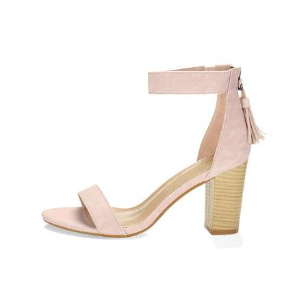 0d8f67ce19e67 Unique Bargains Women's Stacked Heel Open Toe Tassel Ankle Strap Sandals  Navy Blue (Size 6 ...