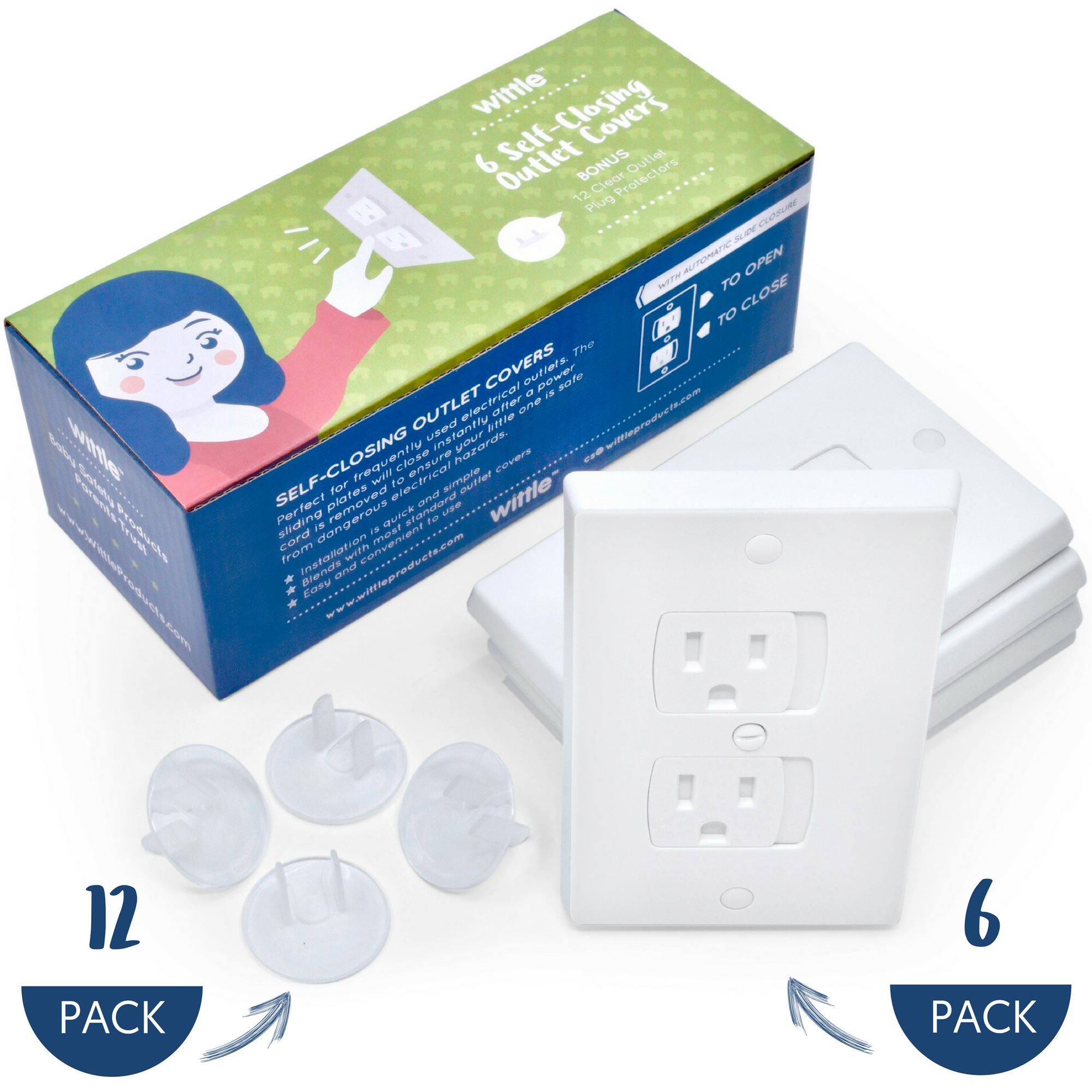 Wittle Self Closing Outlet Covers (6 White) Plus Plug Cover Outlet Protectors (12 Clear)