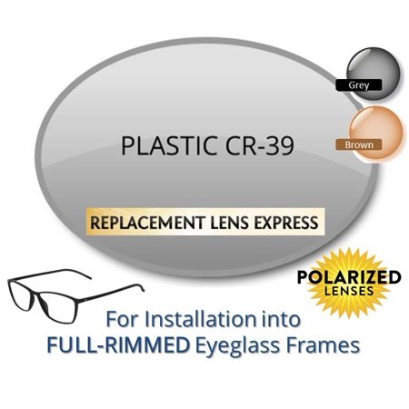 Single Vision Polarized Plastic CR39 Prescription Eyeglass Lenses, Left and Right (a Pair), for installation into your own Full-Rimmed Frames, Anti-Scratch Coating Included (Halloween Contact Lenses With No Prescription)