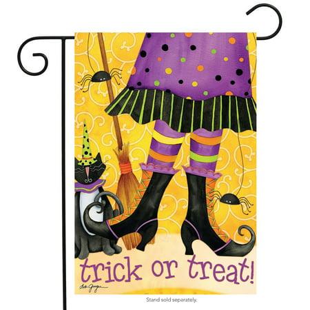 Trick or Treat Witch Halloween Garden Flag Cat Broom 12.5