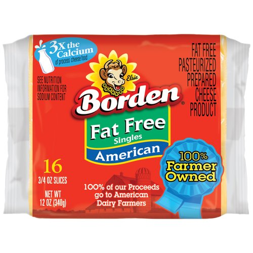 Borden Fat Free American Singles Cheese Product, 16 ct