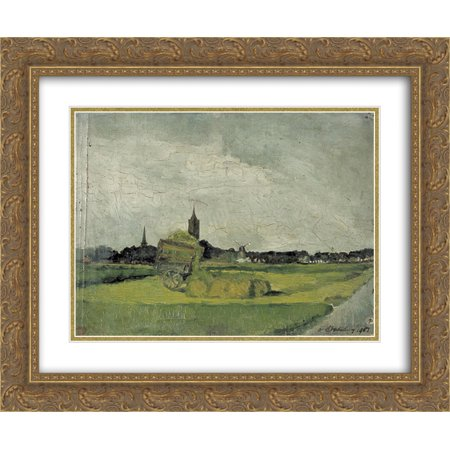 (Theo van Doesburg 2x Matted 24x20 Gold Ornate Framed Art Print 'Landscape with hay cart, church towers and windmill')