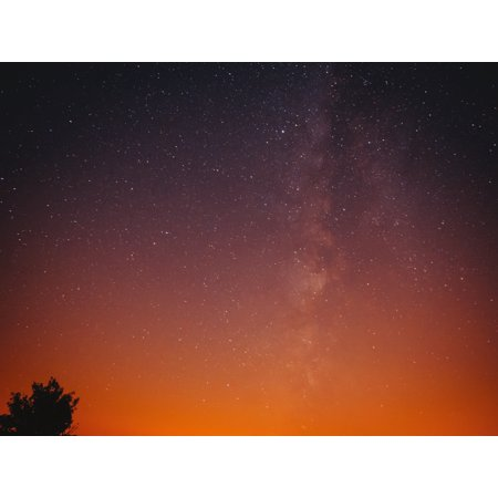 Starry Night Orange Sky Outdoor Wall Photography Artwork Skyline Poster, Small Signs - 18x24 ()