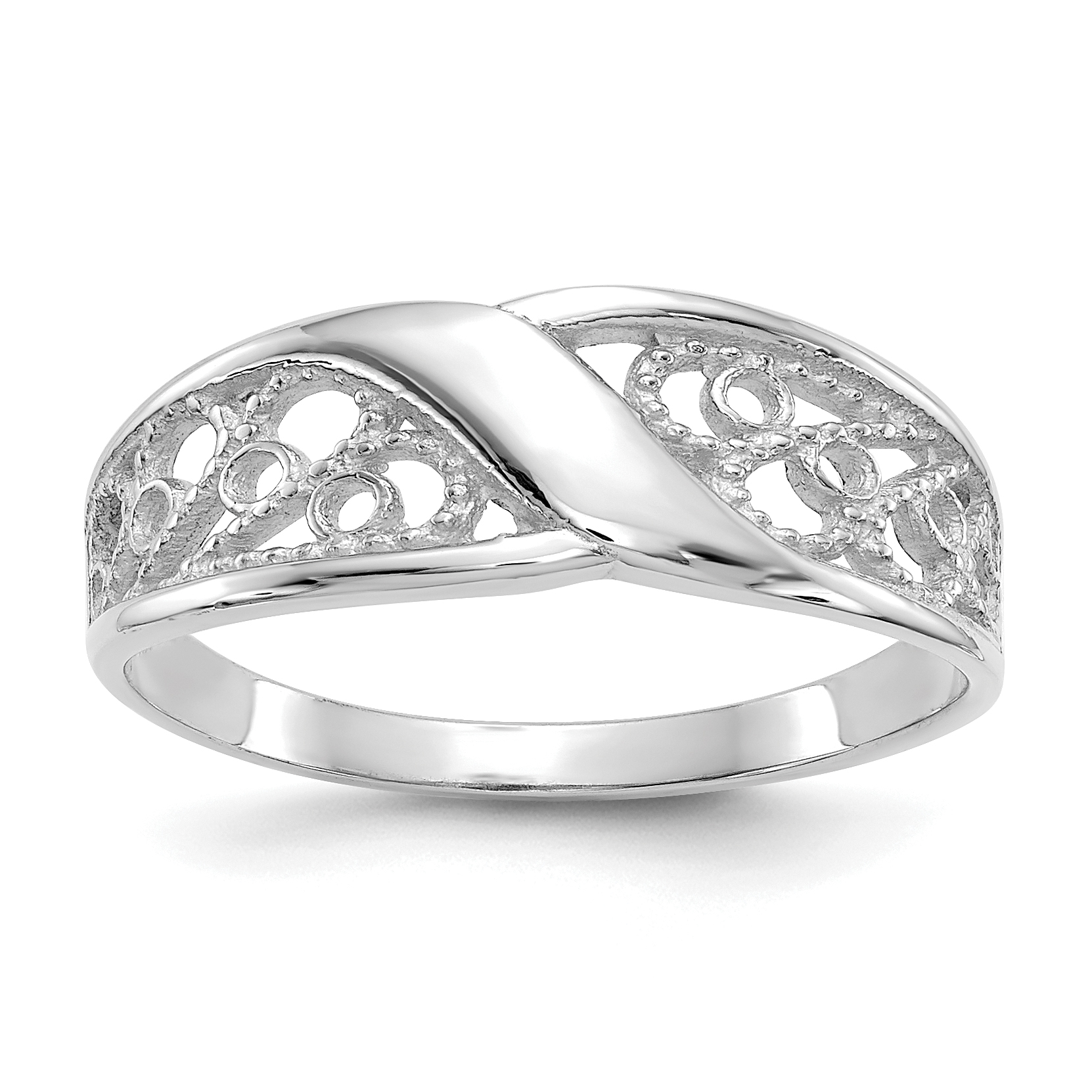 14k White Gold Filigree Band Ring Size 6.00 Fine Jewelry Gifts For Women For Her - image 2 de 2