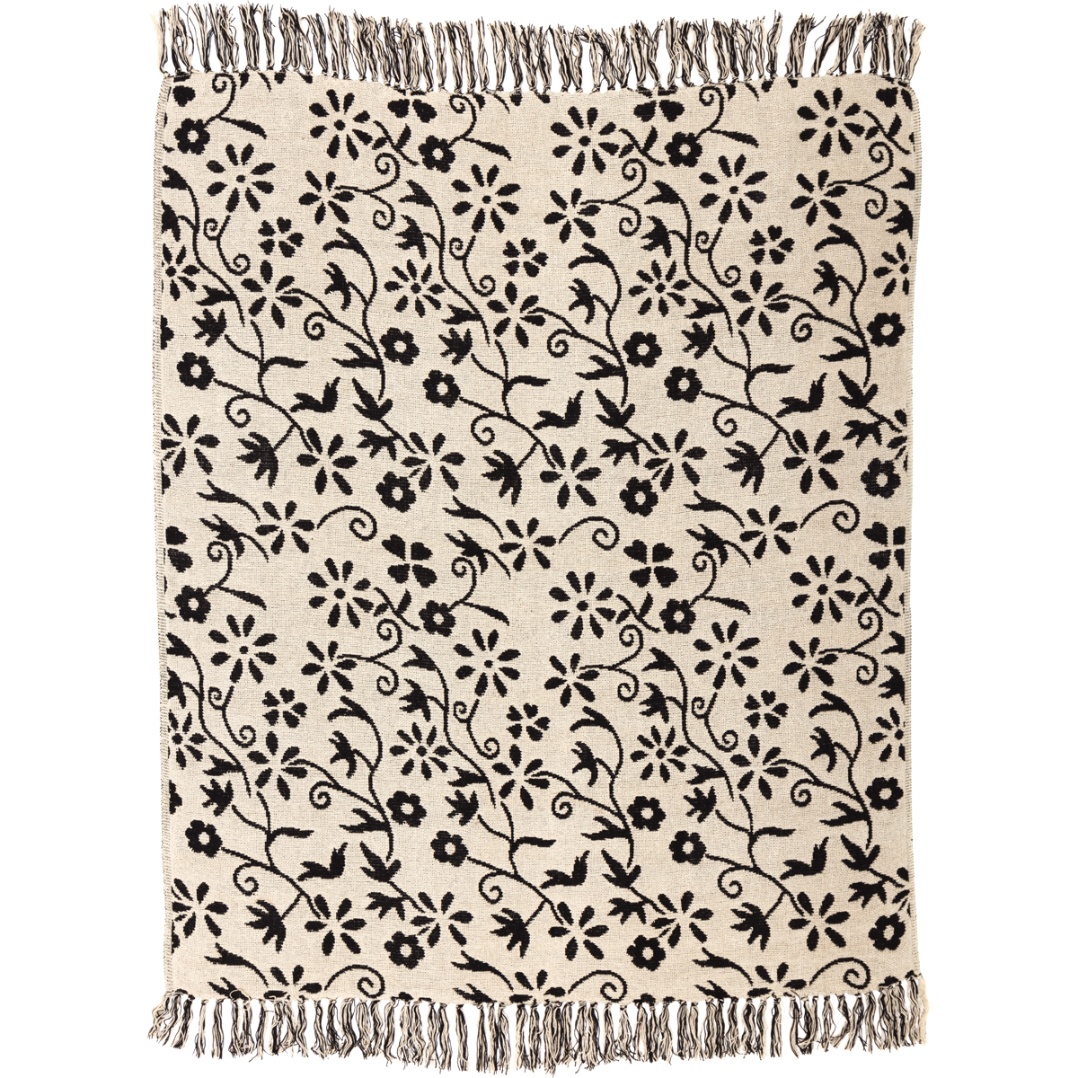 Creme White Farmhouse Decor Cordova Cotton Knotted Tassels Floral / Flower Throw