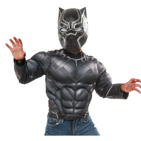 Kids Black Panther Muscle Chest Shirt & Mask Set - Panther Kids
