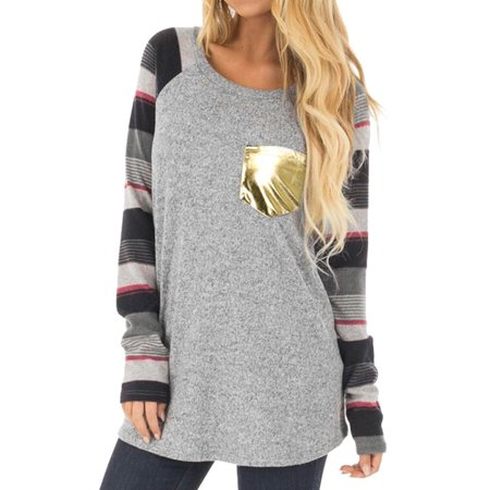 5a8a4dec58 Nlife - Nlife Women Splice Striped Long Sleeve Gold Sequin Pocket Tunic  Shirt - Walmart.com
