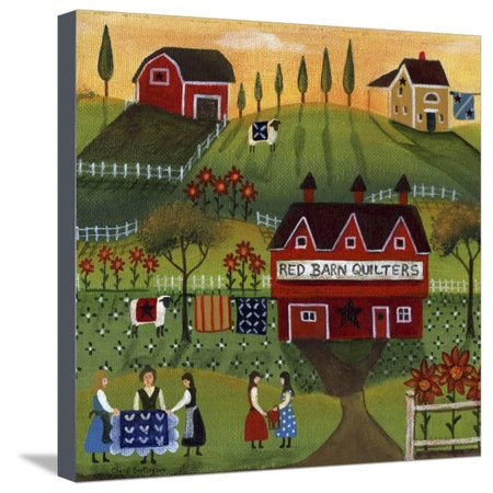 Red Barn Quilters Stretched Canvas Print Wall Art By Cheryl Bartley ()