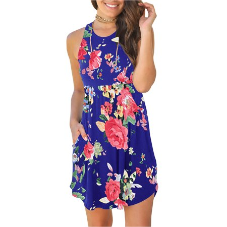 Sleeveless Floral Print Women Summer Mini Casual Dress (Painted Dresses)