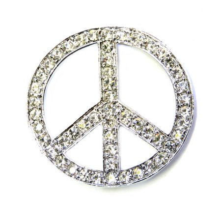Peace Sign Pin Brooch Gorgeous Clear - Pin Brooch Sign