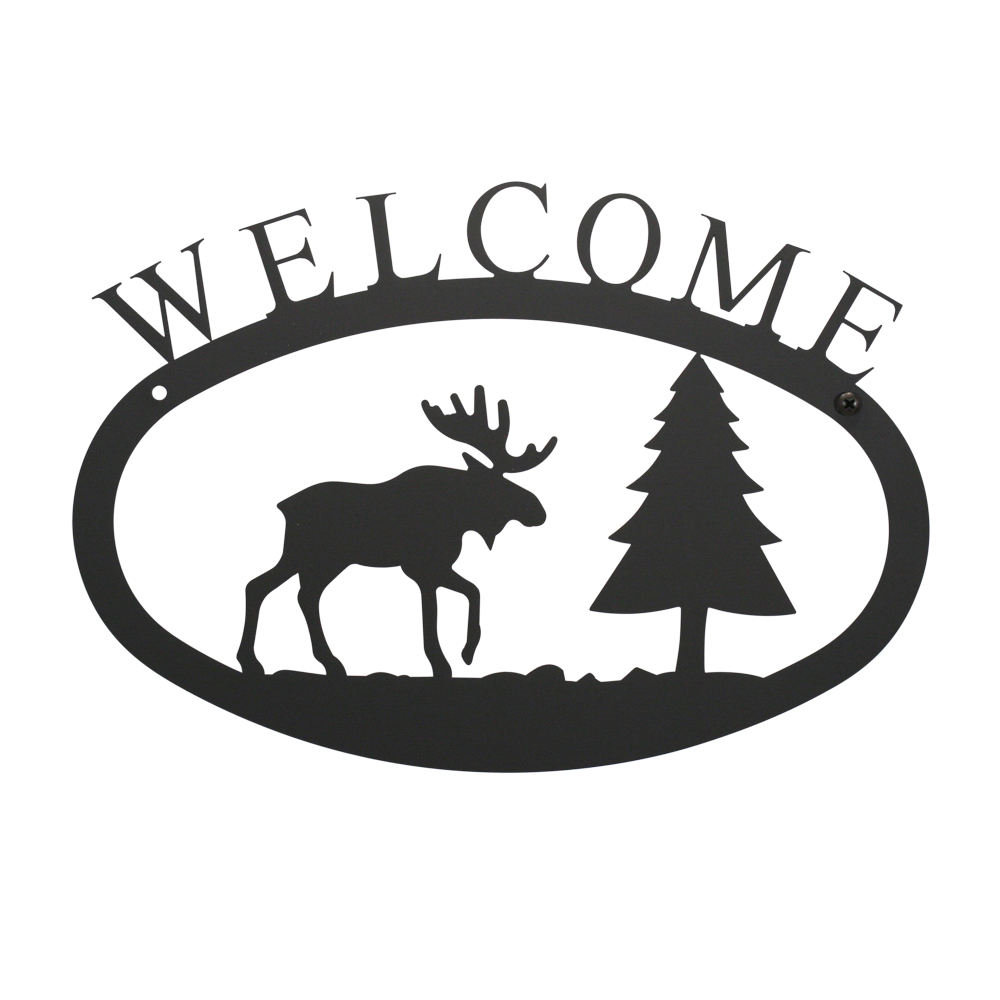 Village Wrought Iron WEL-22-S Moose & Pine - Welcome Sign Small
