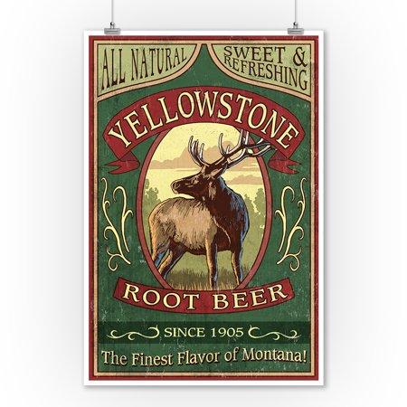 Yellowstone National Park, Wyoming - Elk Root Beer Vintage Sign - Lantern Press Artwork (9x12 Art Print, Wall Decor Travel Poster)