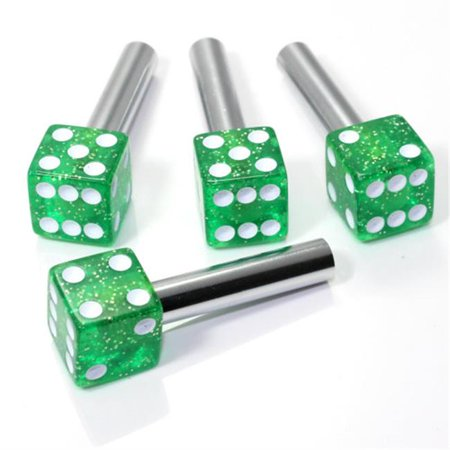 SmallAutoParts Clear Green Glitter Dice Interior Door Lock Knobs - Set Of 4 - image 1 de 1