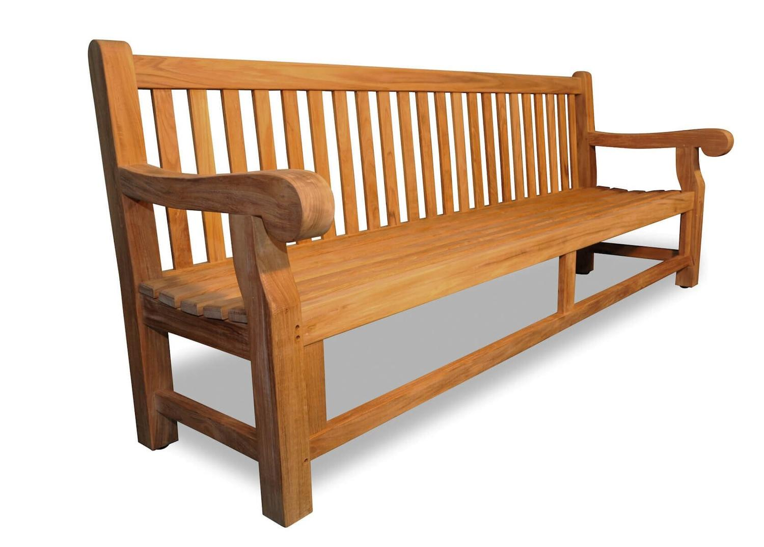"96"" Natural Teak Outdoor Patio Hyde Park Inspired Wooden Bench by Eco-Friendly Furnishings"