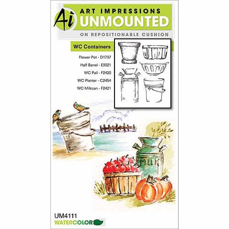 Art Impressions Watercolor Cling Rubber Stamp Floral Collage Stamp