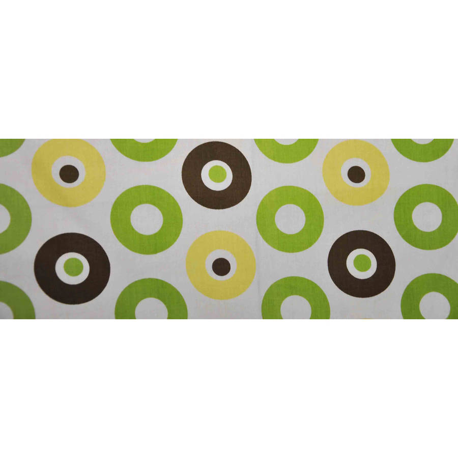 Bacati - Mod Dots Green/Yellow/Chocolate Tailored with 100% Cotton Percale 13 inch drop Crib Skirt