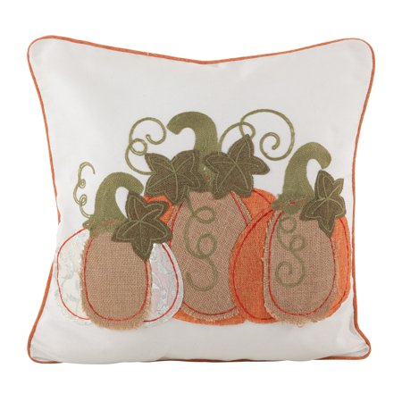 Fennco Styles Patchwork Pumpkin Design Poly Filled Throw Pillow (18
