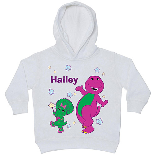 Personalized Barney Little Stars White Toddler Girl Hoodie