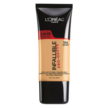 L'Oreal Paris Infallible Pro-Matte Blendable Foundation, Oil Free, 104 Golden Beige, 1 fl.