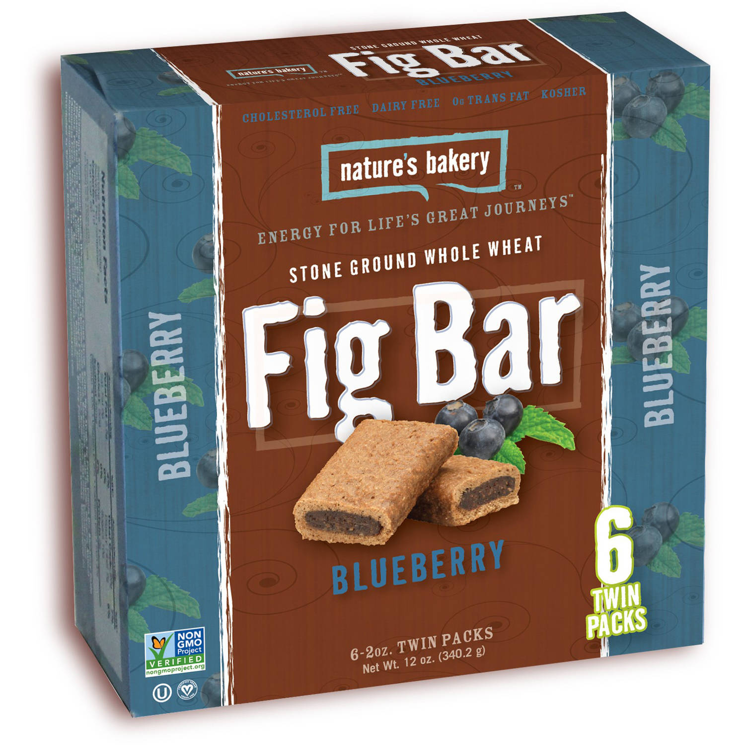 Nature's Bakery Stone Ground Whole Wheat Blueberry Fig Bars, 2 oz, 6 count, 72 total (Pack of 12)