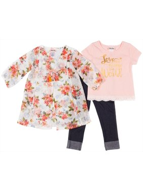 Little Lass Toddler Girls 3-pc. Floral Kimona & Leggings Set