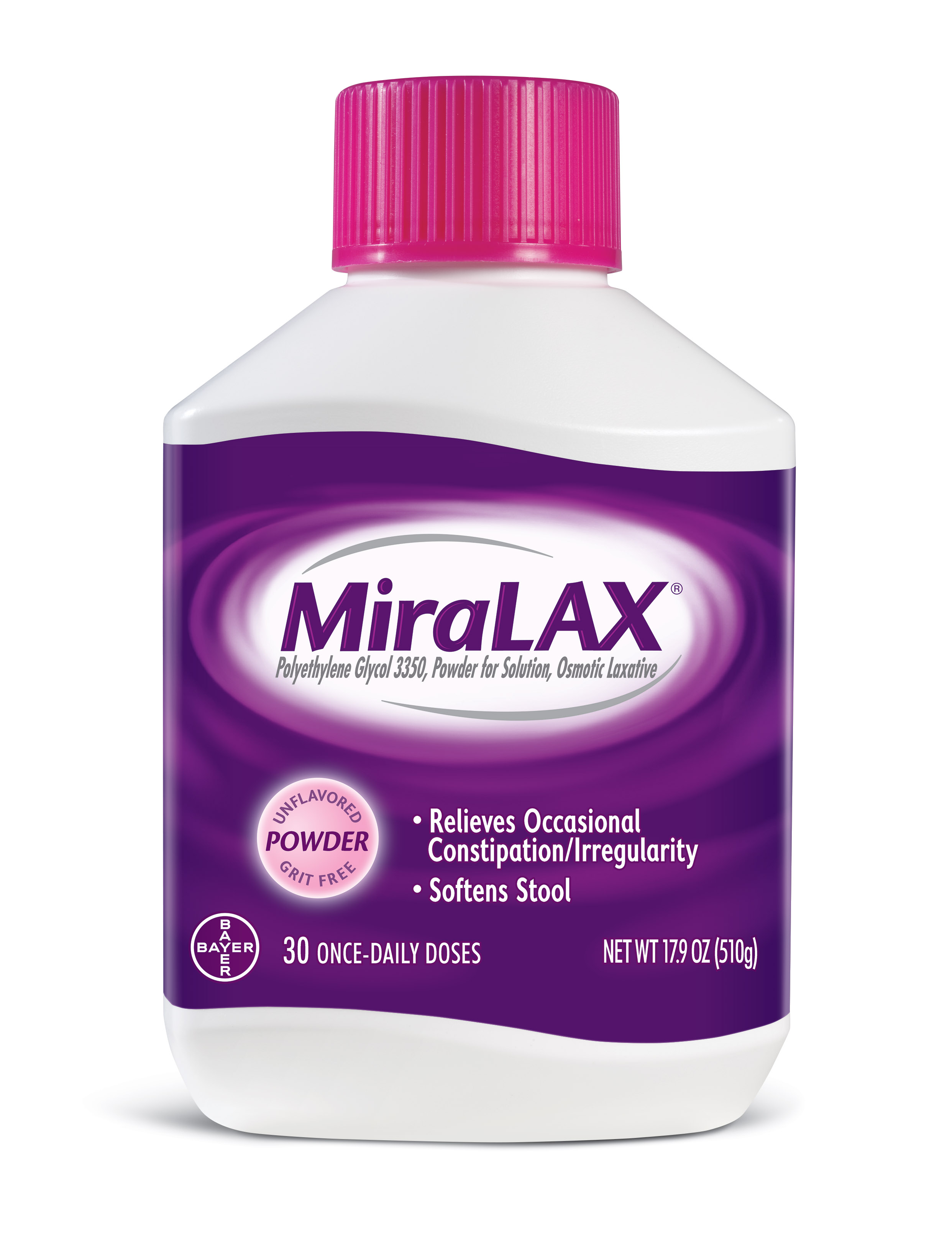 photograph regarding Miralax Printable Coupon called MiraLAX Polyethylene Glycol 3350 Powder Laxative, 17.9 Oz, 30 Dose
