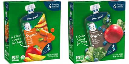 (2 Pack) Gerber 2nd Organic Baby Foods Vareity Pack 4 Apple, Blueberries & Spinanch and 4 Carrots, Apples & Mangos Pouches (8 Pouches total)