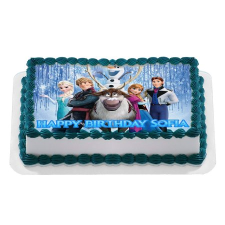 Disney FROZEN Quarter Sheet Edible Photo Birthday Cake Topper Personalized 1 4