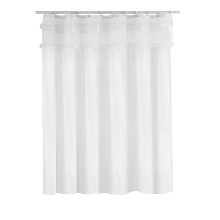 Water Resistant Tassel Shower Curtains With Hooks Set White 72 X 78 Inch