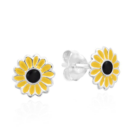 Petite Yellow Sunflower .925 Silver Stud (Sunflower Necklace Earrings)