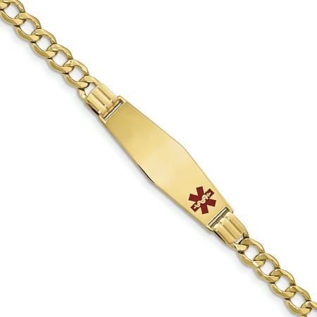 14K Yellow Gold Medical Soft Diamond Shape Red Enamel Curb Link 5.9mm ID Bracelet - image 3 de 3