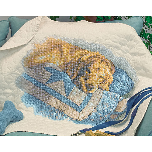 """Dimensions """"Snooze"""" Stamped Cross Stitch Quilt Kit, 43"""" x 34"""""""