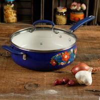 The Pioneer Woman Dazzling Dahlias 5-Quart Jumbo Cooker, Cobalt