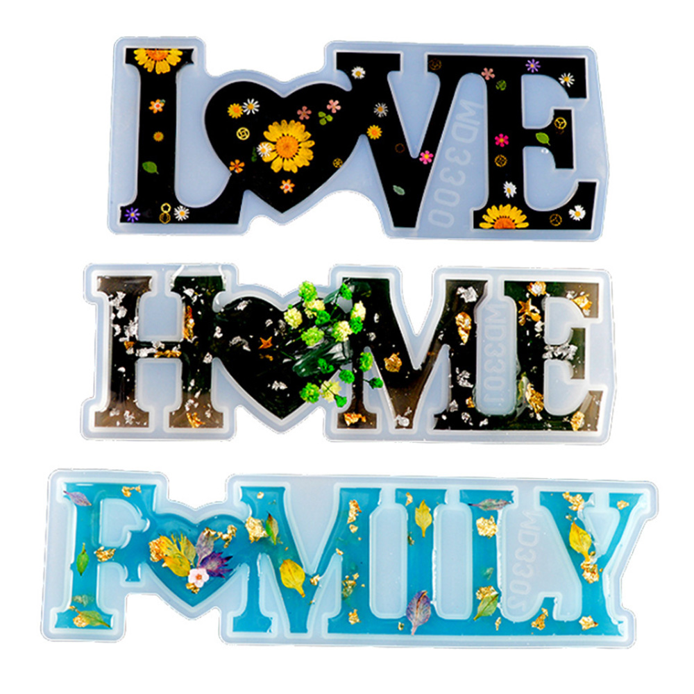 LOVE//HOME//FAMILY Silicone Resin Casting Mold DIY Jewelry Making Tool Epoxy Mould