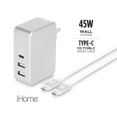 iHome 45W Macbook Power Delivery Wall Charger with 1 USB-C Port, 2 USB-A Ports, and a 6FT Type-C to Type-C Nylon Charging Cable
