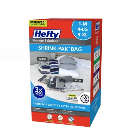 4 Large Bags - Hefty Shrink-Pak Vacuum Seal Bags, 1 Medium, 4 Large and 3 X-Large Bags