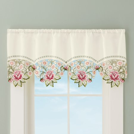 Embroidered Cutwork Rose Window Valance Curtain with Rod Pocket Top - Home Décor For Any Room, Multi Rose Window Valance