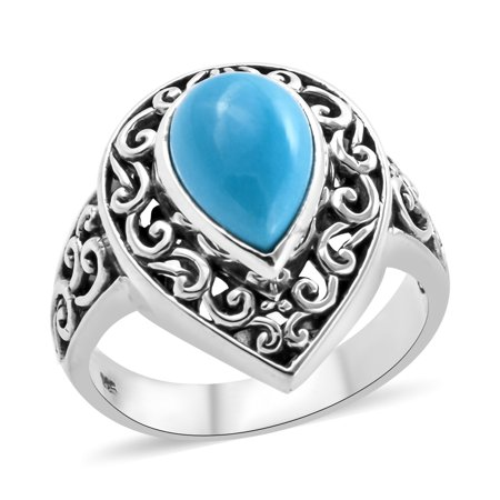 Solitaire Ring 925 Sterling Silver Pear Sleeping Beauty Turquoise Gift Jewelry for Women Size 8