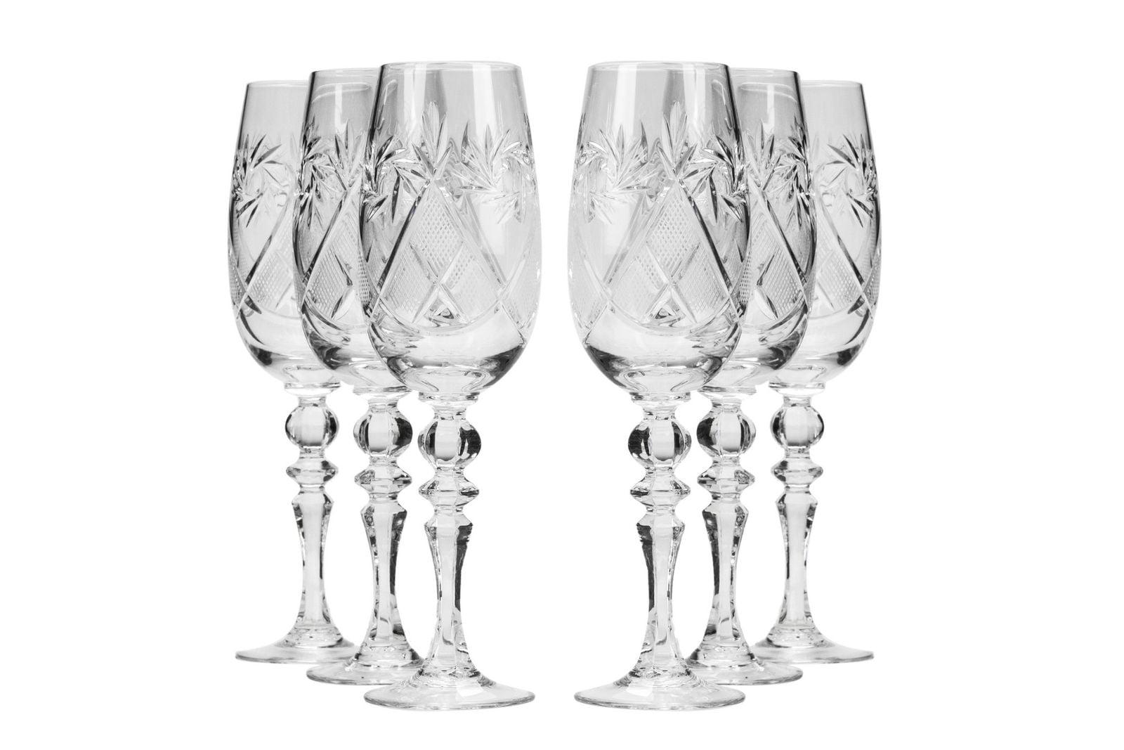 6-Oz Gold Rim Vintage Russian Crystal Champagne Flute Set of 6 Neman Glassworks