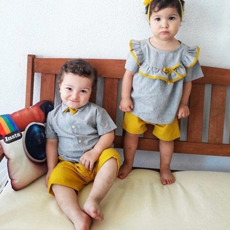 Baby Girl Boy Clothes Toddler Outfit Suit Brothers and Sisters Matching Outfits Short Sleeve T-Shirt Tops + Short Pants with Flower Headband Outfit Suit, Yellow+Gray